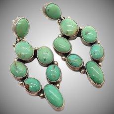 Vintage  Native American NAKAI Dangle Drop LONE MOUNTAIN  Turquoise Earrings -Navajo Earrings
