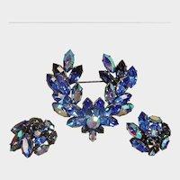 Blue AUSTRIAN Rhinestone Brooch and Earrings Set - Vintage Demi Parure
