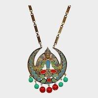 FLORENZA Long Necklace - Etruscan Revival Necklace - Vintage Egyptian Necklace