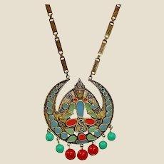 Vintage FLORENZA Long Necklace - Etruscan Revival Necklace