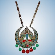 Vintage Florenza Long Etruscan Revival Necklace - Vintage FLORENZA Signed Jewelry