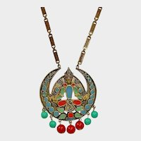 25% off Sale - Vintage FLORENZA  Long Etruscan Revival Necklace