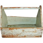 Antique PAINTED Primitive Wood Tool Box Carrier Tray Tote or Trug