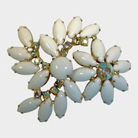 Vintage White Milk Glass and Rhinestone Brooch - Aurora Borealis Chatons Rhinestones - Gold Tone Findings Sparkly Clean - 1950s