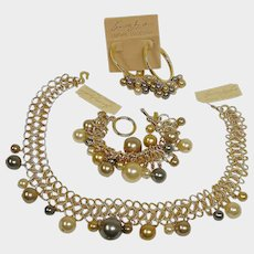 Vintage Kenneth Jay Lane Parure - KJL Couture Collection Necklace Bracelet and Pierced Earrings Set - FREE USA Shipping