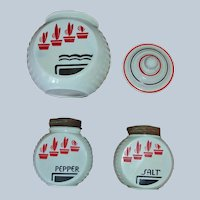 Anchor Hocking Flower Pot Pattern Range Set - Vitrock Grease Jar, Salt and Pepper Shakers