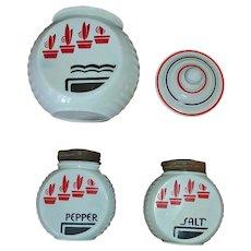 SALE *** Anchor Hocking Flower Pot Pattern Range Set - VITROCK Grease Jar, Salt and Pepper Shakers