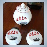 Anchor Hocking Flower Pot Pattern - Vitrock Grease Jar, Salt and Pepper Shakers