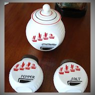 Anchor Hocking Flower Pot Pattern - Vitrock Grease Jar, Salt and Pepper Shakers