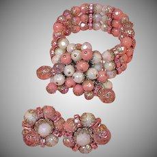 Vintage HOBE Demi -  Bracelet and Earrings Set