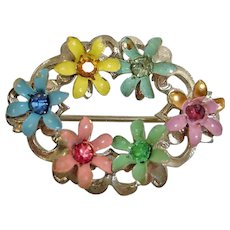 Vintage Jewelry Pin - 1940's Flower Pin with Rhinestone Centers - Petite Rhinestone and Enamel Brooch - Multi Color