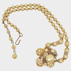 Vintage Necklace - Robert DeMario - Cluster Glass Baroque Pearl Necklace