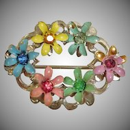 Vintage 1940's Flower Pin with Rhinestone Centers – Vintage Rhinestone Jewelry