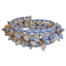 Vintage MIRIAM HASKELL Wire Wrap Cluster Cuff Bracelet