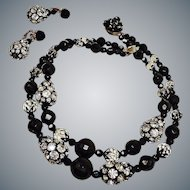 Vintage Black FACETED Bead and Clear Rhinestone Necklace Earrings Set Demi Parure