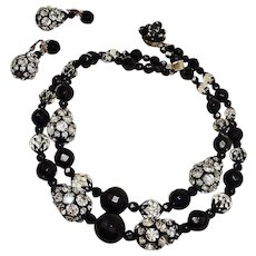 Vintage Black FACETED Bead and Clear Rhinestone Necklace Earrings Set Demi Parure - FREE USA SHIPPING