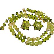 Hobe Green ART GLASS Bead Necklace and Earrings Demi Parure – Vintage HOBE Jewelry Set