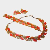 20% off Sale: Vintage BSK Thermoset Parure - Leaf Designed Necklace Bracelet and Earrings Set