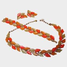 BSK Thermoset Parure - Leaf Designed Necklace Bracelet and Earrings Set - Vintage BSK Jewelry