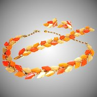 Vintage BSK Thermoset Parure - BSK Jewelry - Leaf Necklace Bracelet and Earrings Set
