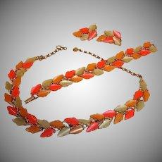 Vintage BSK Thermoset Parure - Leaf  Designed Necklace Bracelet and Earrings Set