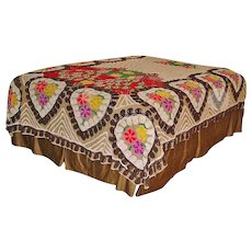Vintage Peacock Chenille Bed Spread – DOUBLE or QUEEN Size - Soft Browns