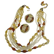 Vintage Demi Parure HOBE Jewelry - Necklace and  Earrings