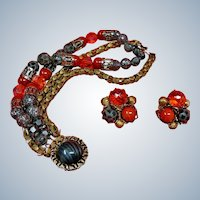 HOBE Bracelet and Earring Set - Vintage Hobe Jewelry Demi Parure