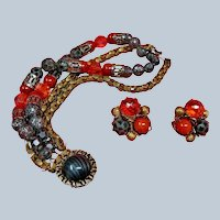 Vintage HOBE Bracelet and Earring Set -  Hobe Demi Parure