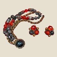 Vintage HOBE Bracelet and Earring Set -  Hobe Demi Parure
