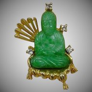 Vintage Hattie Carnegie Asian Brooch - Green Peking Glass Buddha Pin