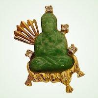 30% OFF SALE!!  Vintage Hattie Carnegie Brooch - Green Peking Glass Buddha Pin - Oriental Influence