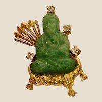 Vintage Hattie Carnegie Buddha Brooch - Striking Jade Green Peking Glass Buddha with Rhinestones