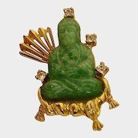 SALE *** Vintage Hattie Carnegie Buddha Brooch - Striking Jade Green Peking Glass Buddha with Rhinestones