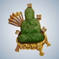 30% OFF SALE!!  Vintage Hattie Carnegie Brooch - Green Peking Glass Buddha Pin - Oriental Influence