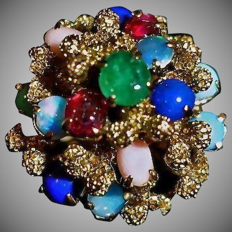 Vintage Bombe or Princess Ring - 14K Gold Domed Ring - Ruby, Emerald, Angel Skin Coral, Lapis Lazuli, Opal - Size 6 3/4 US