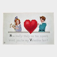 Vintage STECHER Embossed Valentine Postcard – Stecher Series 154 E - Unused