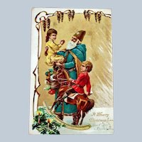 Undivided Back Post Card Embossed SANTA Postcard - Old World Blue Robe Santa