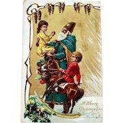 Embossed SANTA Postcard - Old World Blue Robe Santa - Undivided Back Post Card