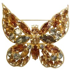 SALE - Vintage LA ROCO Rhinestone Butterfly Brooch - Insect Bug Pin