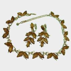 Vintage KRAMER Thermoset and Rhinestones Necklace Earrings Set