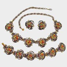 Vintage Estate Jewelry - Florenza Rhinestone Parure - Necklace Bracelet and Earrings Set of Jewelry