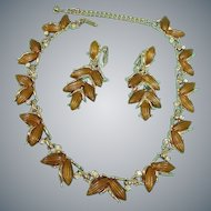 Vintage KRAMER Demi Parure Jewelry - Thermoset & Rhinestones Necklace and Earrings Set