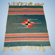 "Antique Chimayo Rug or Blanket  - Hand Woven - Early 1900's - 25"" by 18"""