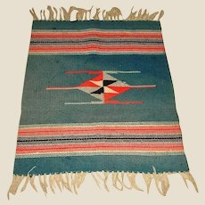 """SALE - Antique Chimayo Rug or Blanket  - Hand Woven - Early 1900's - 25"""" by 18"""""""