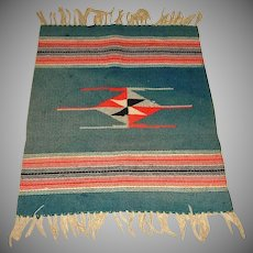 """Antique Chimayo Rug or Blanket  - Hand Woven - Early 1900's - 25"""" by 18"""""""