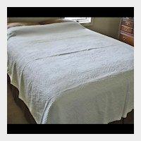 SALE --- Antique Woven Snowy White Counterpane - Cotton Coverlet Pansies & Vines