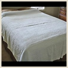 Antique Woven Snowy White Counterpane - Cotton Coverlet Pansies & Vines