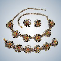 Vintage Florenza Rhinestone Parure - Necklace Bracelet and Earrings Set of Jewelry