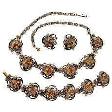 Vintage Florenza Rhinestone Parure - Necklace Bracelet and Earrings Set of Jewelry